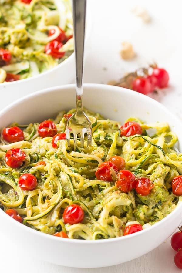 Pesto Zucchini Noodles with Burst Cherry Tomatoes